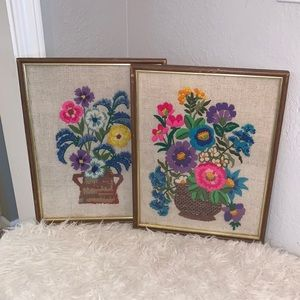 Eclectic Vintage Hand Stitched Floral Wall Decor
